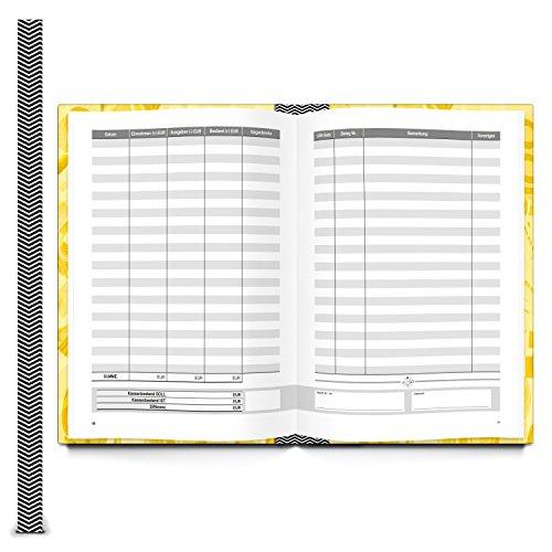 Ordnungsgemäßes Kassenbuch DIN A5 HARDCOVER GELB für Barzahlungen - Übersicht Finanzen + Geld - Einnahmen + Ausgaben 148 Seiten Bar-Einzahlungen + Auszahlungen buchen Kassen-Buchführung Buchhaltung - 2